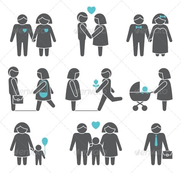 Women and Men Icons Set