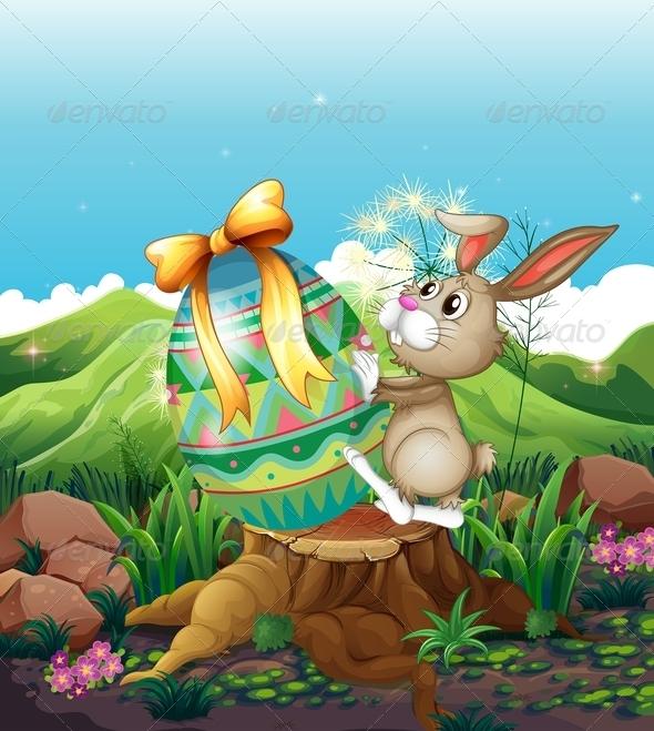 Bunny with Big Easter Egg