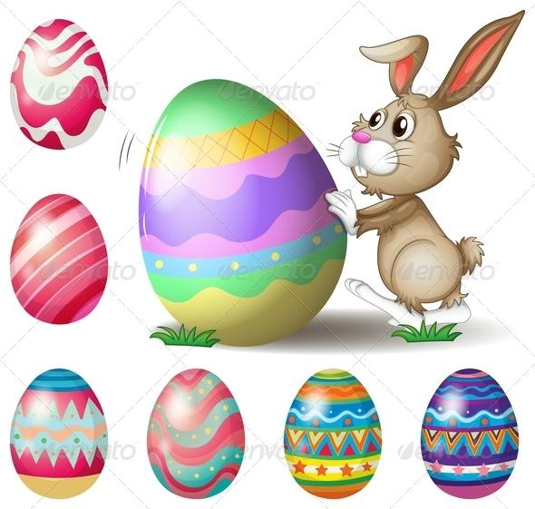 Bunny Pushing Easter Egg