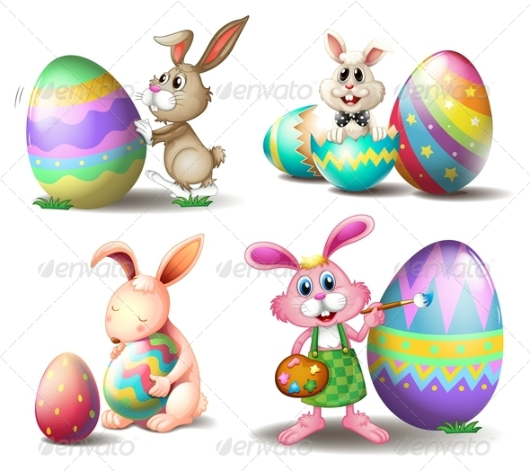 Bunnies with Easter Eggs