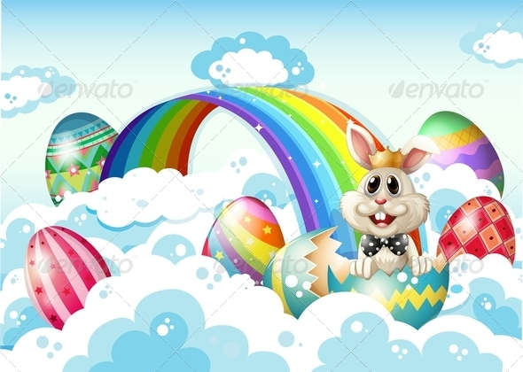 King Bunny in the Sky with Easter Eggs
