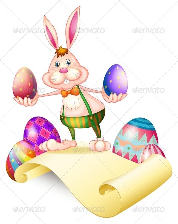Rabbit Holding Two Easter Eggs