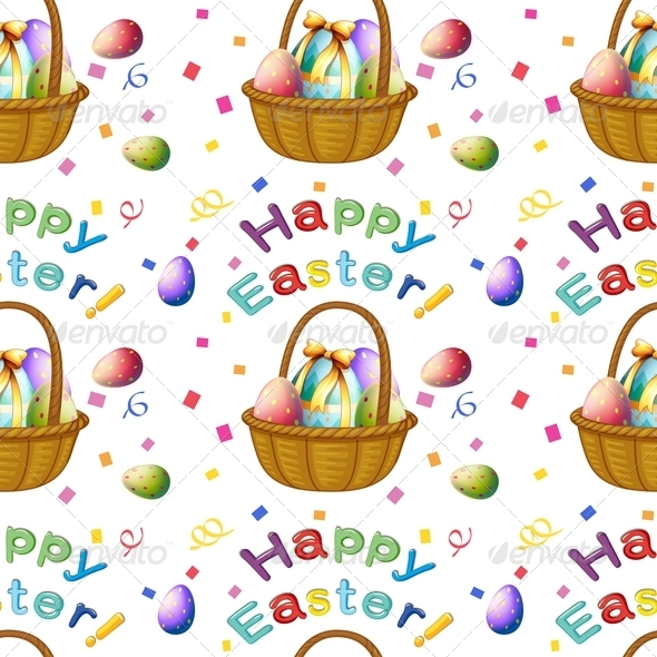Seamless Design with Easter Eggs in a Basket