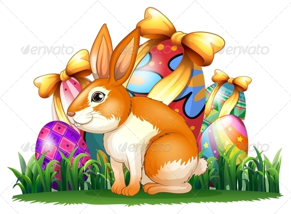 Bunny in Front of Easter Eggs