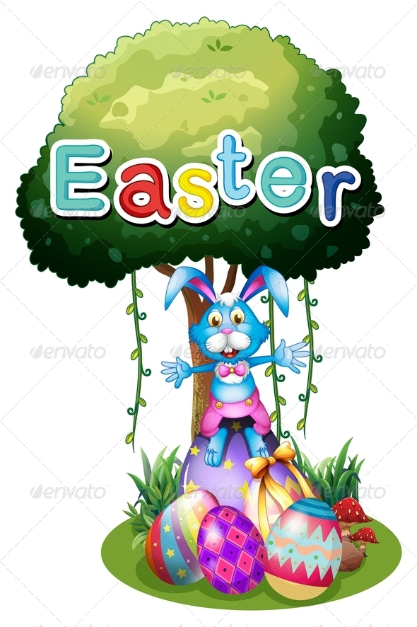 Easter Eggs and a Bunny Under the Tree