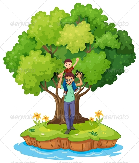 Young Boy Carried by His Father Near a Big Tree