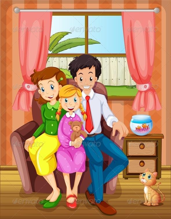 Smiling Family inside House