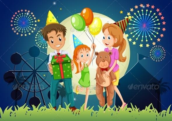 Family Celebrating at Night Carnival