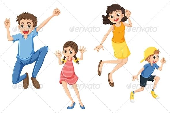 Happy Family Jumping