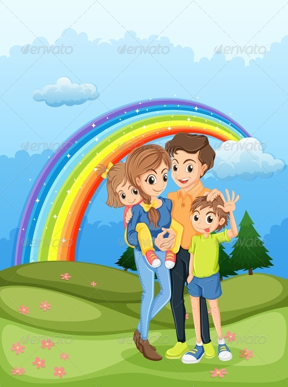 Family Strolling with Rainbow in the Sky