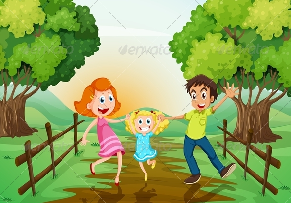 Happy Family on the Path