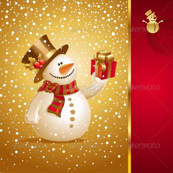 Christmas Design - Snowman With Gift