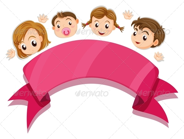 Kids with Banner Template