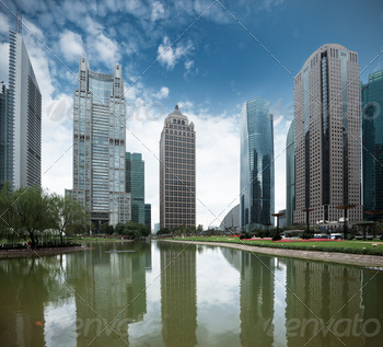 pond and modern building in shanghai