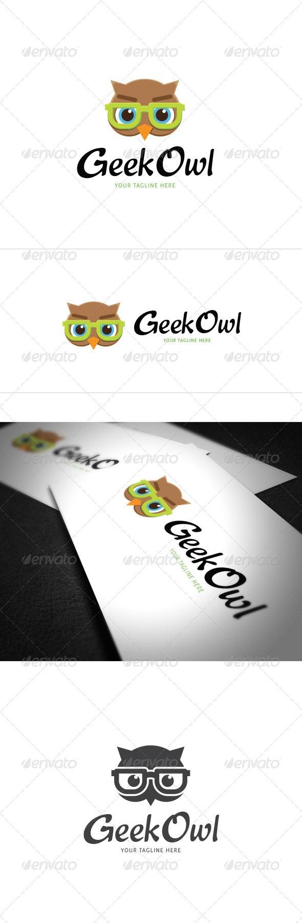 Geek Owl Logo Template