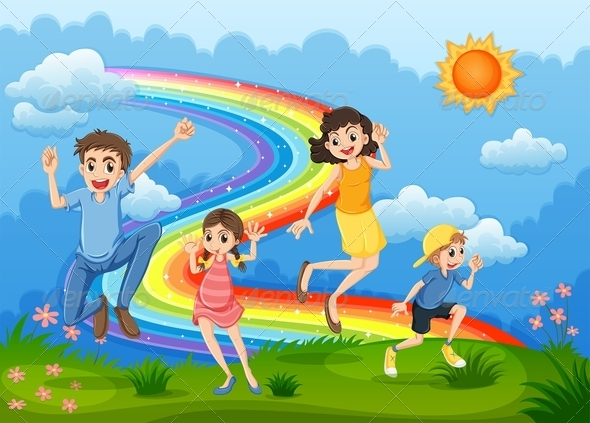 A Family at the Hilltop Jumping with a Rainbow