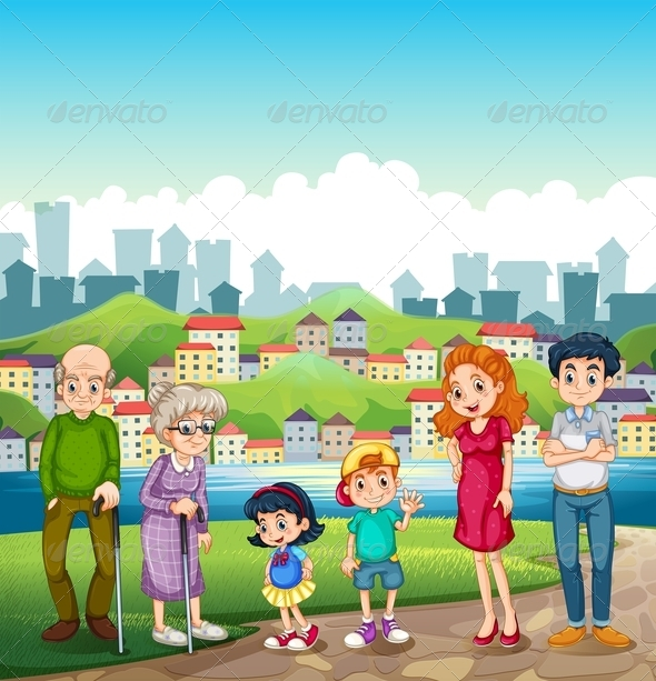 Big Happy Family Standing by a Riverbank and City