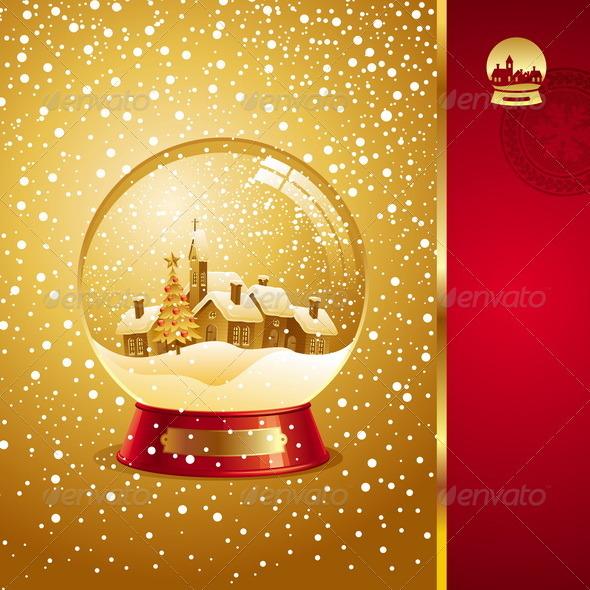 Christmas Design With Snow globe