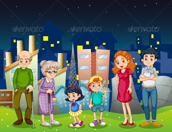 Family Standing in Front of a City
