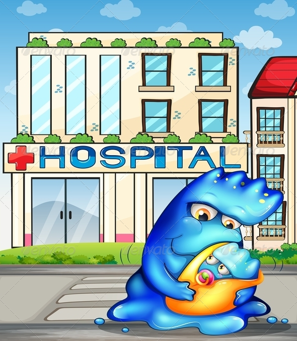 A Monster with her Child in Front of the Hospital