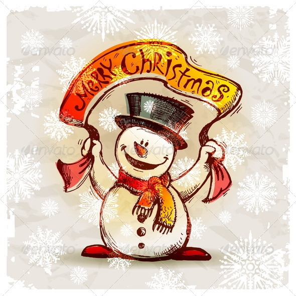 Hand Drawn Snowman With Greeting Banner