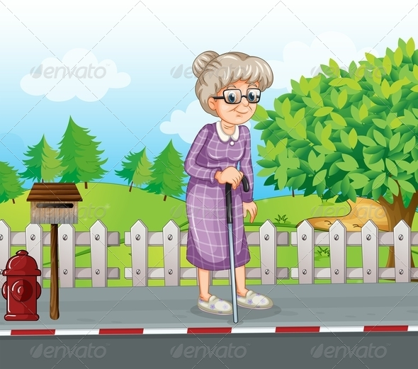 An Old Woman on the Street with a Cane