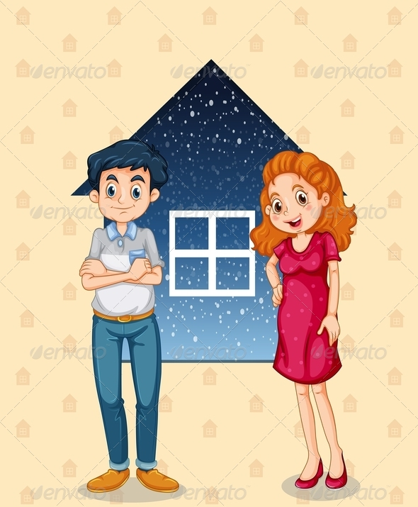 Couple Standing in Front of House Background