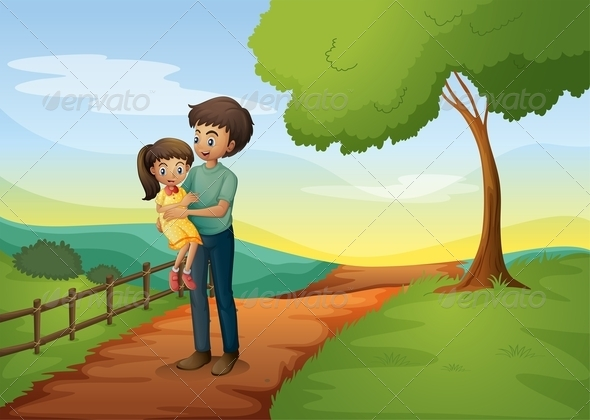 A Father Carrying his Daughter at the Hilltop
