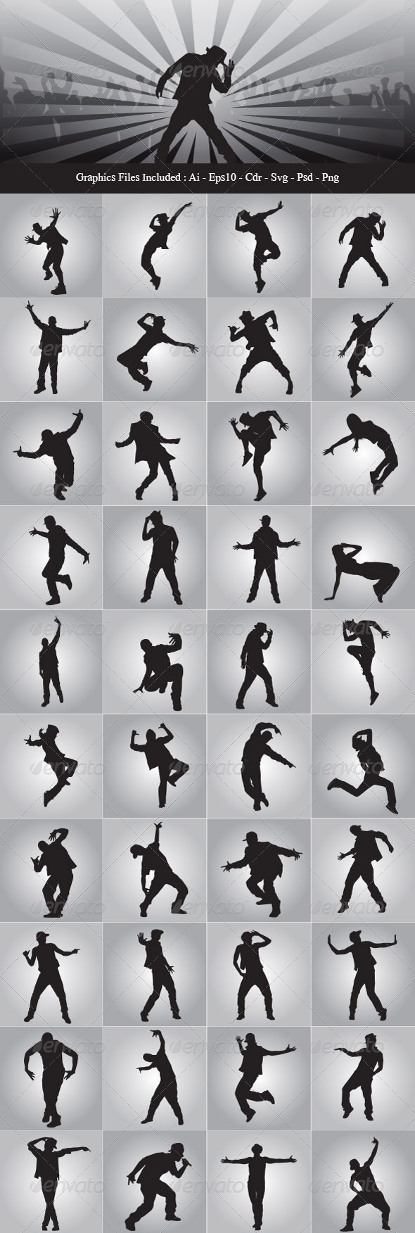Dancer Silhouette Graphics Designs Templates