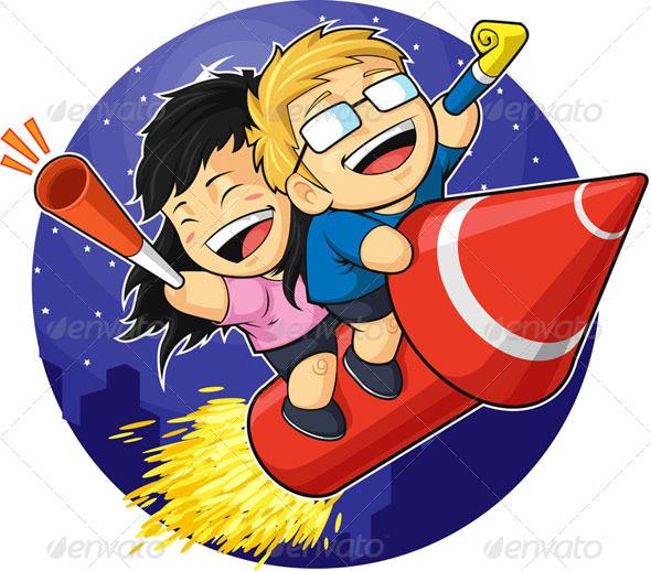 Boy & Girl Riding New Year Firework