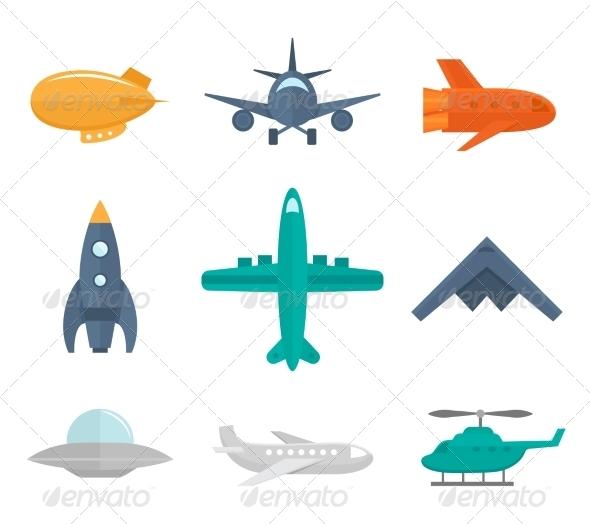 Aircraft Icons Flat