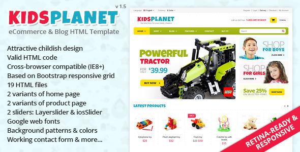 Kids Planet - Responsive Ecommerce/Blog HTML Theme