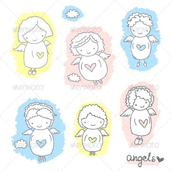 Set of Sketch Angels