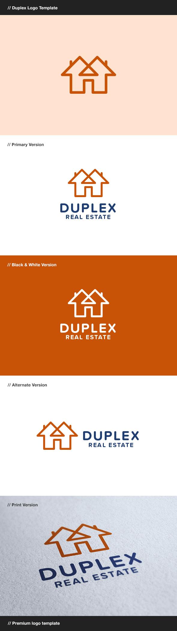 Duplex - Construction & Real Estate Logo