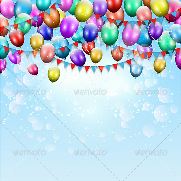 Balloons and Pennant Background