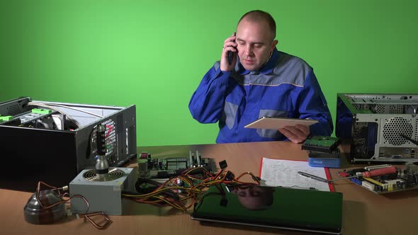 Carefree Technician Man Using Tablet Talk with Customer