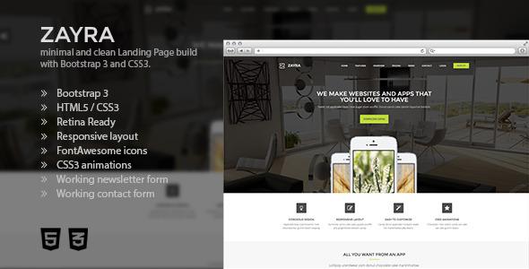 Zayra - Bootstrap 3 Retina App Landing Page
