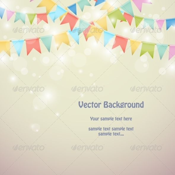 Holiday Background with Colored Bunting