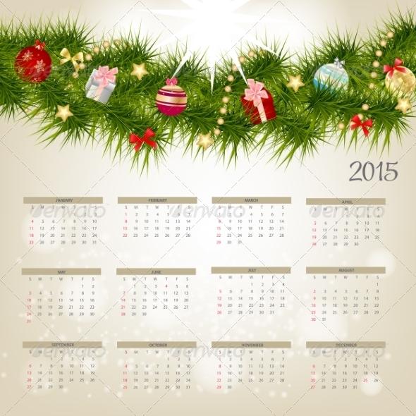 Vector Illustration. 2015 New Year Calendar