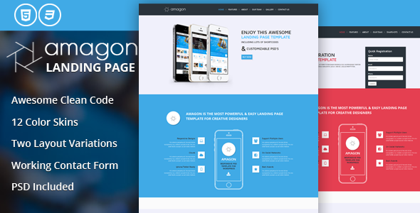 Amagon Flat Bootstrap Landing Page Template