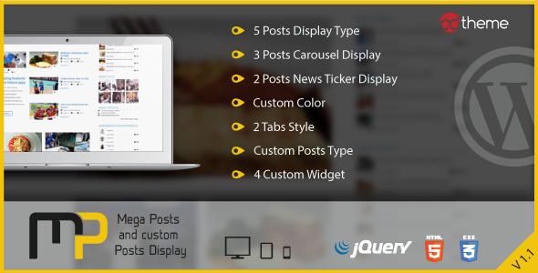 Mega Posts and Custom Posts Display WP Plugin Download