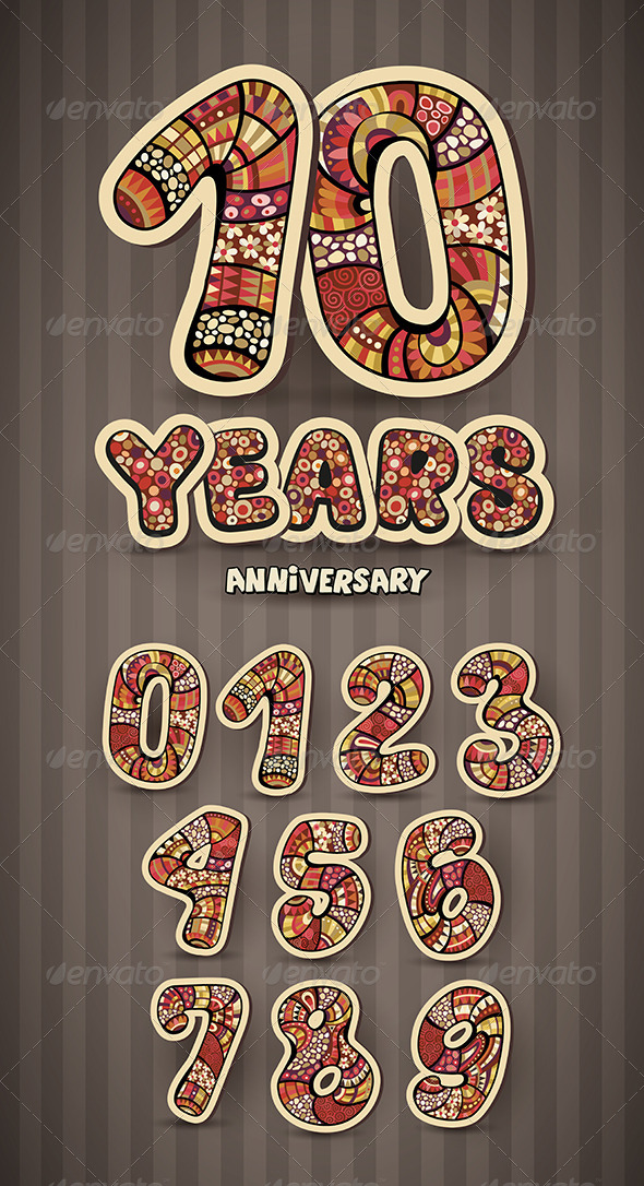 Anniversary Card Design and Numbers Set
