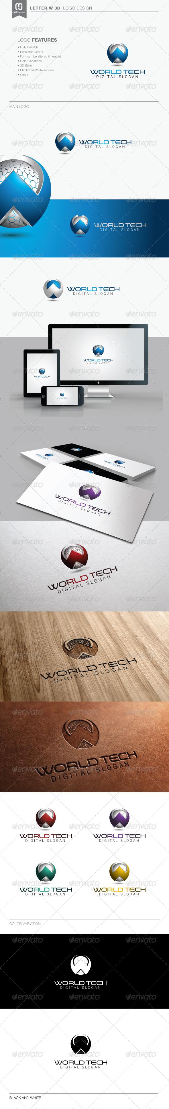 Letter W 3D Logo - 3