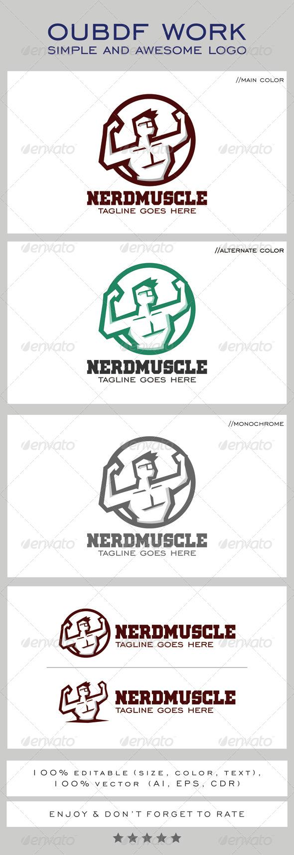 Nerd Muscle Logo Mascot