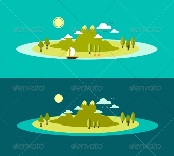 Flat Landscape Vectors From Graphicriver