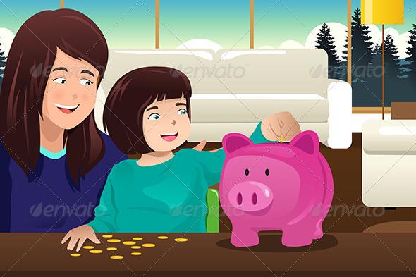 Mother Daughter Saving Money to a Piggybank