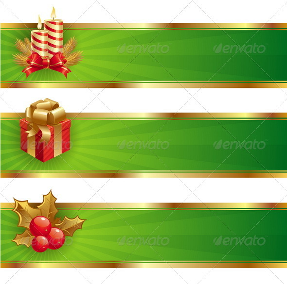 Christmas Vector Banners With Holidays Symbols