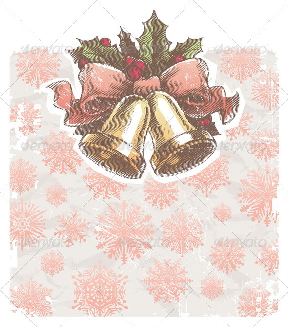 Christmas Holidays Illustration With Hand Bells