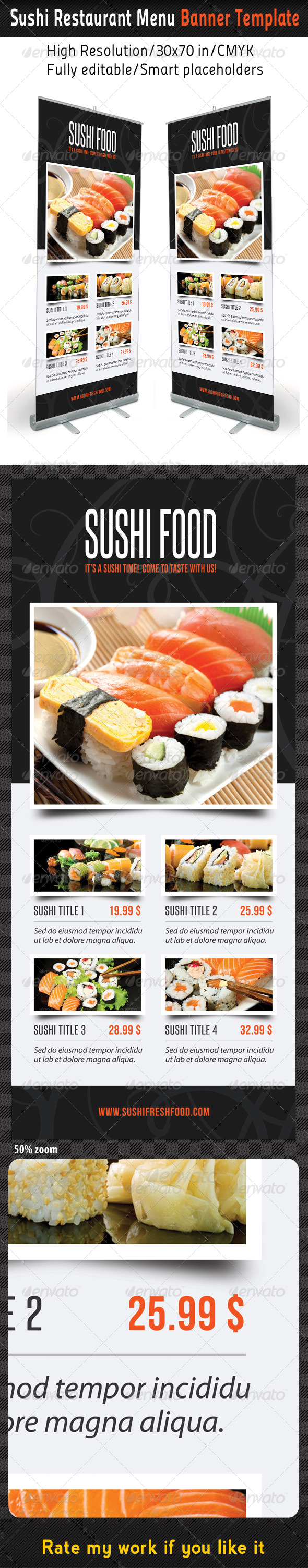 Sushi Menu Graphics Designs Templates From Graphicriver