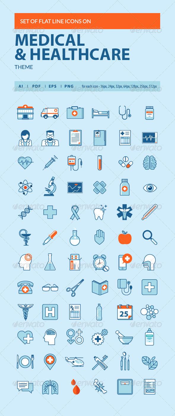 Set of Flat Line Icons on Medicine Theme